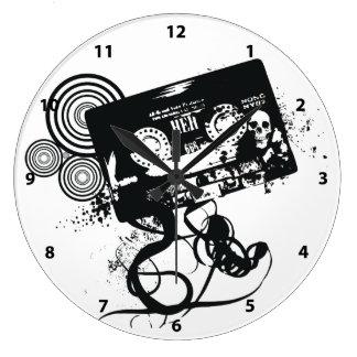 Retro Grunge Audio Tape & Skull Large Clock