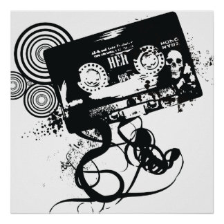 Retro Grunge Audio Tape & Skull Poster