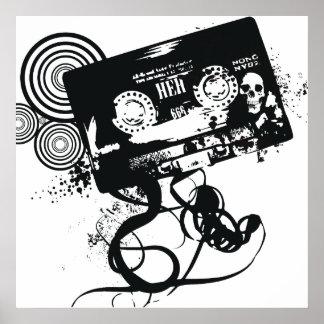 Retro Grunge Audio Tape & Skull Poster
