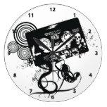 Retro Grunge Audio Tape & Skull Round Clock