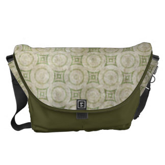 Retro Grunge Beige and Green Pattern Courier Bag