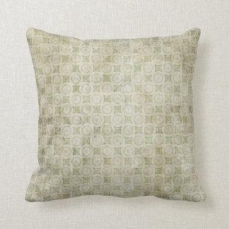 Retro Grunge Beige and Green Pattern Pillow