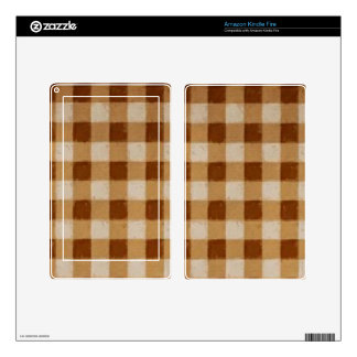 Retro Grunge Brown Gingham Decal For Kindle Fire