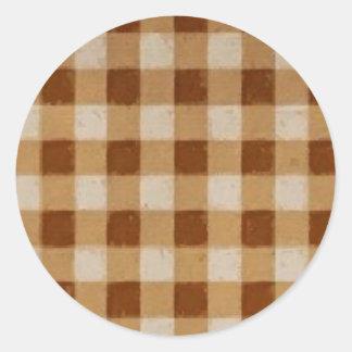 Retro Grunge Brown Gingham Classic Round Sticker
