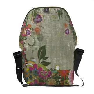 Retro Grunge Floral Rickshaw Messenger Bag