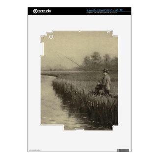 Retro Grunge Fly Fishing iPad 3 Decal