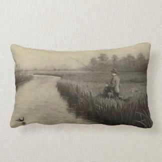 Retro Grunge Fly Fishing Throw Pillows