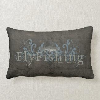 Retro Grunge Fly Fishing Pillow