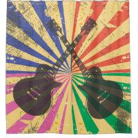 Retro Grunge Guitars on starburst background
