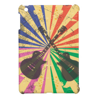 Retro Grunge Guitars on starburst background Cover For The iPad Mini