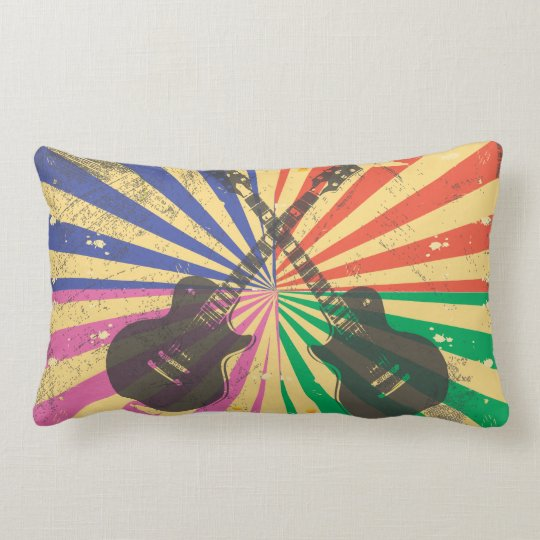 Retro Grunge Guitars on starburst background Lumbar Pillow