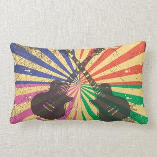 Retro Grunge Guitars on starburst background Pillow
