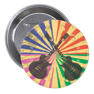 Retro Grunge Guitars on starburst background Pinback Button