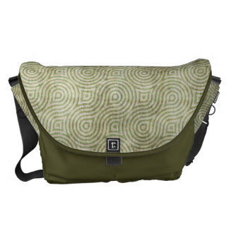 Retro Grunge Light Green Pattern Messenger Bag
