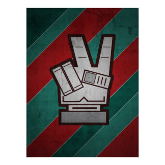 Retro Grunge Peace Hand Sign Poster