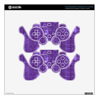 Retro Grunge Plaid Purple Decal For PS3 Controller