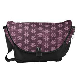 Retro Grunge Purple Flower Pattern Messenger Bag