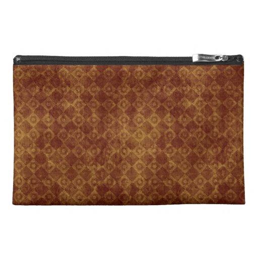 Retro Grunge Rust Diamond Pattern Travel Accessories Bags