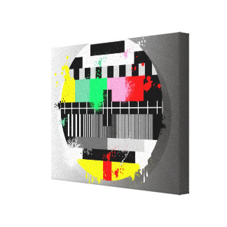 Retro grunge tv wrapped canvas