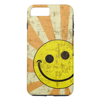 Retro Grungy Smiley Sunburst iPhone 7 Plus Case
