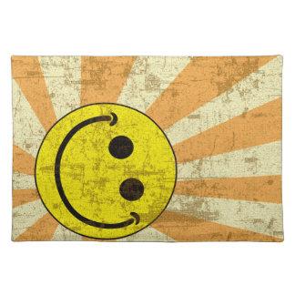 Retro Grungy Smiley Sunburst Placemat
