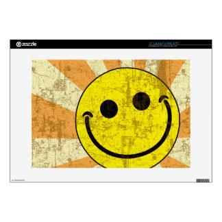 Retro Grungy Smiley Sunburst Laptop Decals