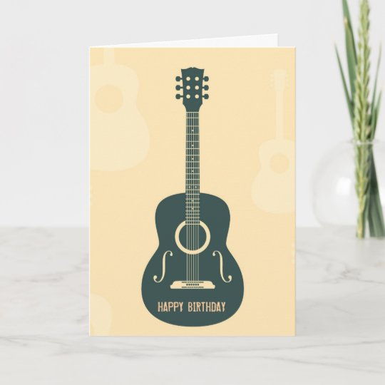 Retro Guitar Acoustic Music Happy Birthday Card