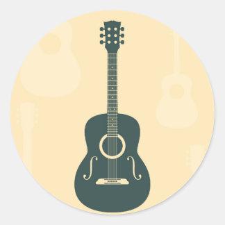 Retro guitar acoustic music round stickers