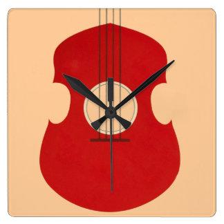 Retro Guitar Graphic Red Musical Instrument Design Wallclock