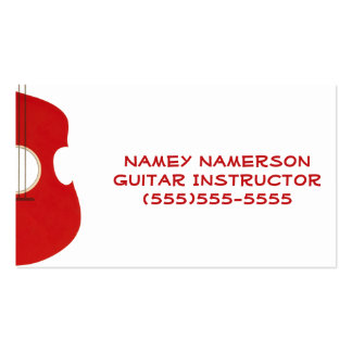 Retro Guitar Graphic Red Musical Instrument Design Double-Sided Standard Business Cards (Pack Of 100)