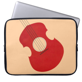 Retro Guitar Graphic Red Musical Instrument Design Computer Sleeves