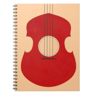 Retro Guitar Graphic Red Musical Instrument Design Spiral Note Books
