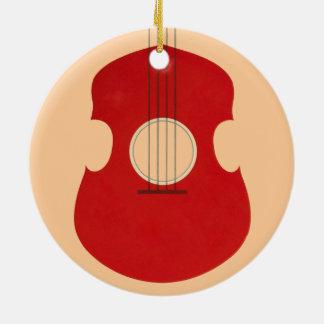 Retro Guitar Graphic Red Musical Instrument Design Christmas Ornaments