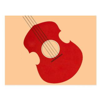 Retro Guitar Graphic Red Musical Instrument Design Post Card