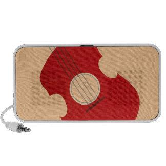 Retro Guitar Graphic Red Musical Instrument Design Laptop Speaker