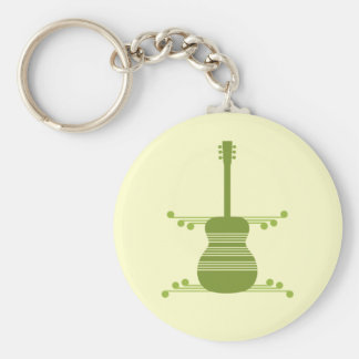 Retro Guitar Keychain, Olive Green Keychain