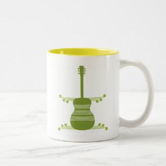Retro Guitar Mug, Olive Green