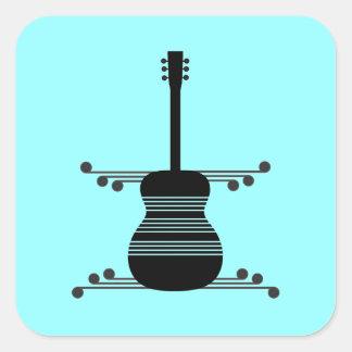 Retro Guitar Square Stickers