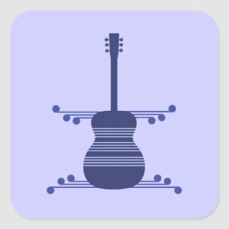 Retro Guitar Square Stickers, Blue