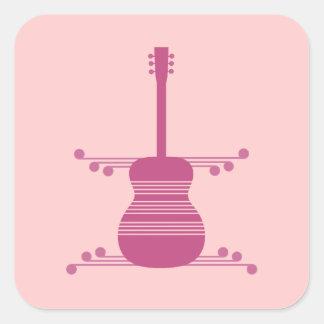 Retro Guitar Square Stickers, Magenta