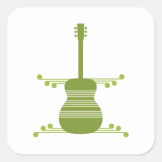 Retro Guitar Square Stickers, Olive Green