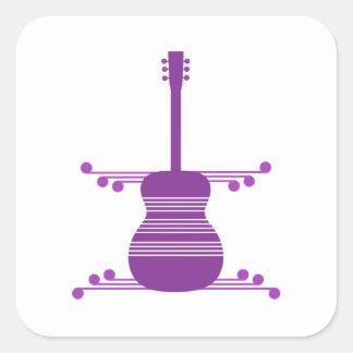 Retro Guitar Square Stickers, Purple