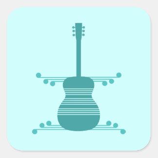 Retro Guitar Square Stickers, Teal