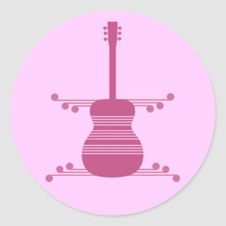 Retro Guitar Stickers, Magenta