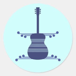 Retro Guitar Stickers, Navy Blue
