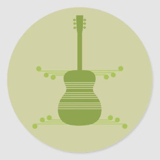 Retro Guitar Stickers, Olive Green