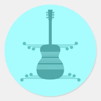 Retro Guitar Stickers, Teal