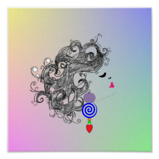 Retro Hair Fashion Design Psychedelic Poster