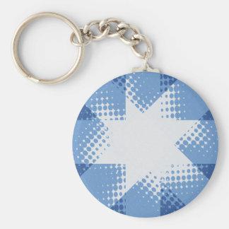 Retro halftone star key chain