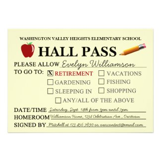 Retro Hall Pass Teacher Retiring Party Invitation